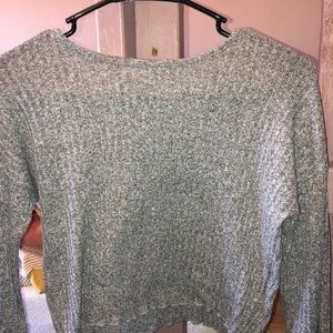 Urban Outfitters long bell sleeve crop top-ribbed